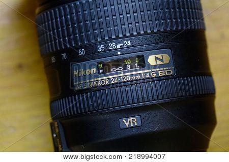 Saigon Vietnam - Jan 2 2017. Close-up of Nikon 24-120mm AF-S lens at the shop in Saigon Vietnam.