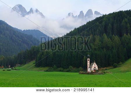 St Johann church of Santa Maddalena in the Dolomites in ItalyEurope