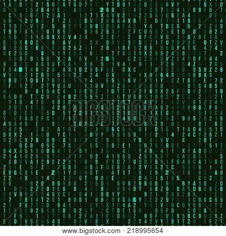 Green hexadecimal computer code. Abstract matrix background. Hacker attack. Generated computer code concept