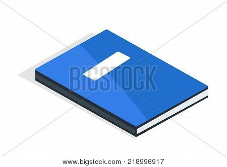 Blue diary with place for name and surname vector illustration isolated on white. Textbook in hardcover, encyclopedia material, modern literature