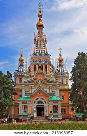 ALMATY, KAZAKHSTAN-AUGUST 4, 2013: The Ascension Cathedral