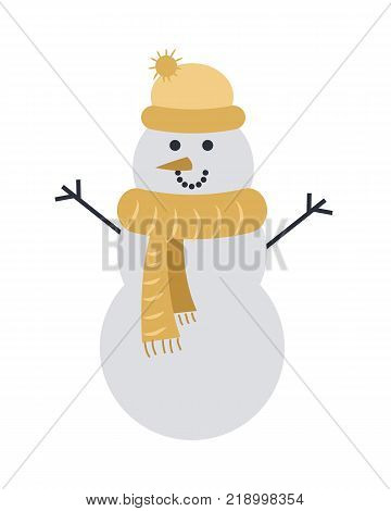Snowman isolated on white in light yellow cap with ball and scarf. Vector cartoon illustration of three snowballs with two dark branches instead hands, black eyes and orange carrot instead nose.