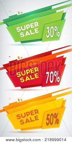 Three sale banners set with information about special offers colored by the yellow, green and red on the white background  vector illustration