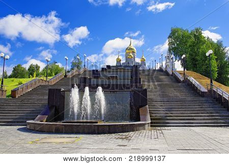 Editorial.Khanty-Mansiysk city Yugra Russia August 19 2013 The staircase leading to the Church of the Resurrection on Gagarina Street