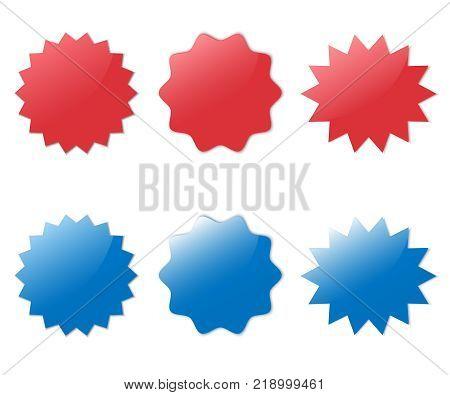 Different starburst. Sunburst badges vector illustration set. Red and blue starburst.