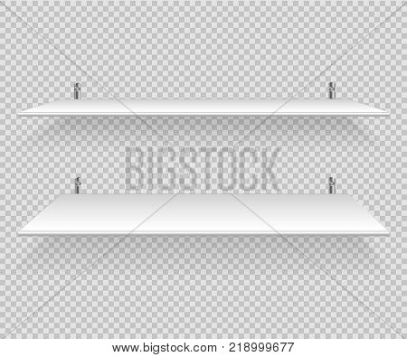 Bookshelves vector. Empty white shelf for book, CD, cup and other object