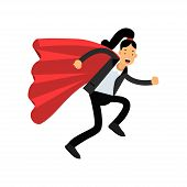 Business woman with red superhero cloak running forward to destination. Purposeful female character wearing classic pant suit. Office worker concept. Cartoon flat vector design isolated on white. poster