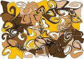 The abstract curl ornament. Brown and yellow color. poster