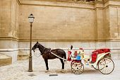 Carriage with horse in Majorca cathedral in Palma de Mallorca at Balearic islands poster