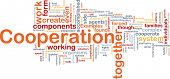 Background concept wordcloud illustration of cooperation management together poster