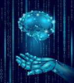Robot android hand hold human brain. Low poly polygonal particle point line geometric render. Mental education creative idea future mind technology concept blue binary code vector illustration art poster