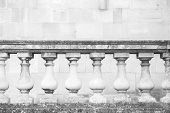 Old white handrail with balusters classic architecture background poster