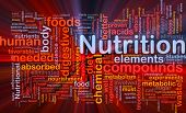 Background concept wordcloud illustration of nutrition food health glowing light poster