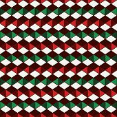 Seamless pattern in Christmas traditional colors with polygons tessellation. Repeated diamonds background. Rhombuses and lozenges motif. Ethnic and tribal style. Geometric digital paper. poster