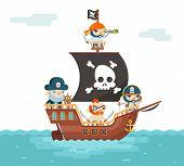 Pirate Ship crew Buccaneer Filibuster Corsair Sea Dog Sailors Captain Fantasy RPG Game Treasure Character Flat Design Vector Illustration poster