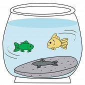fish swimming in fish bowl with dead fish poster
