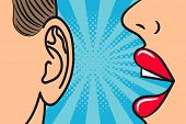 Woman lips whispering in mans ear with speech bubble. Pop Art style, comic book illustration. Secrets and gossip concept. Vector. poster