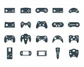 Cartoon Silhouette Black Gamepad Icon Set Concept Element Flat Design Style. Vector illustration of Joystick Game Icons Silhouettes poster