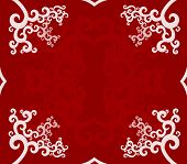 red backround with curly white frame for decorative use poster