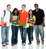 Multicultural College students, male and female waling on a white background poster