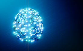Printed Circuits Brain. Concept Of Artificial Intelligence, Deep Learning, Machine Learning, Smart A