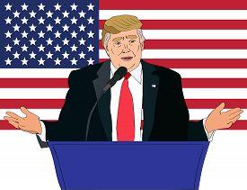 Dec 2017: US President Donald Trump speaking vector portrait on the US flag background