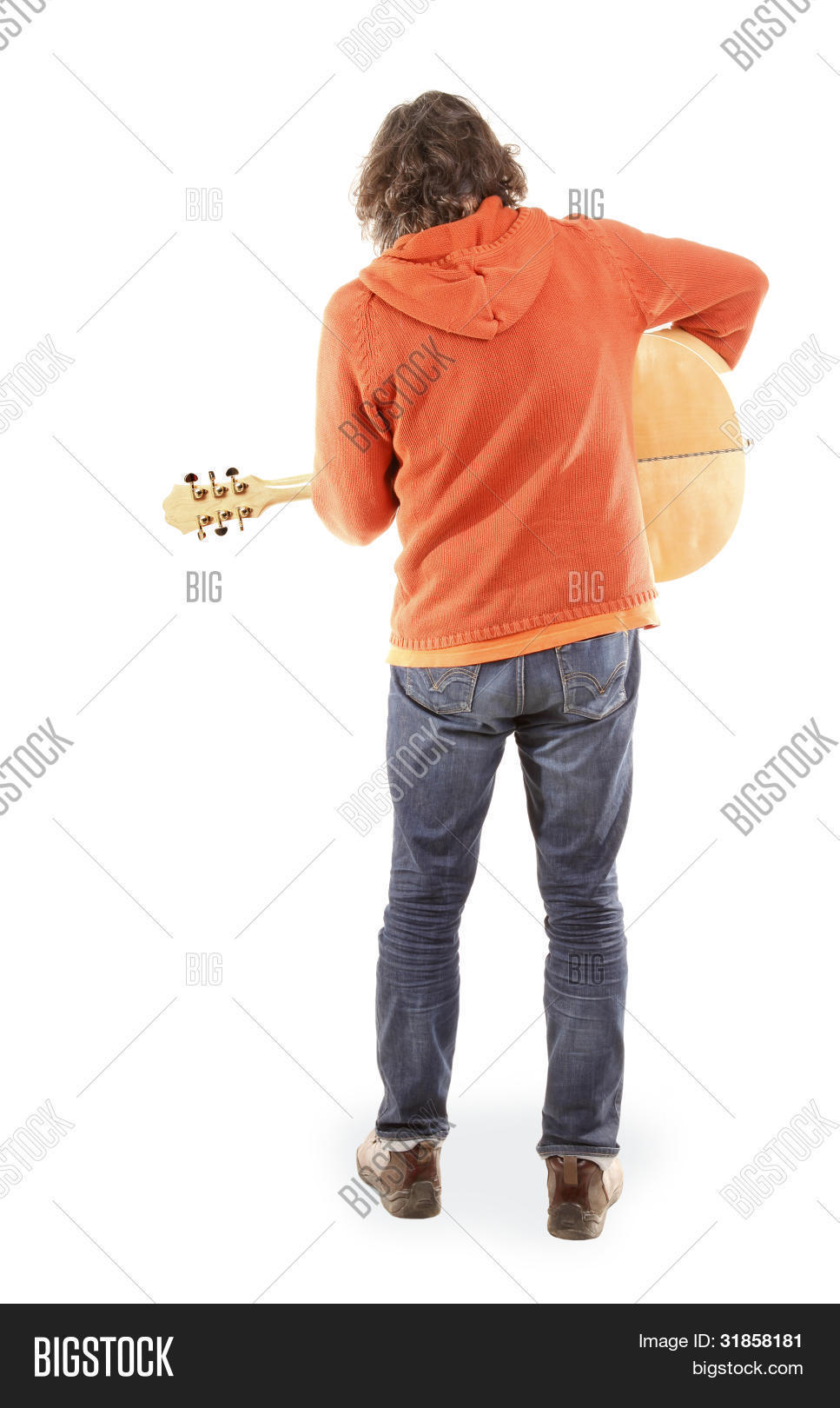 Man Is Playing Acoustic Guitar View From Back