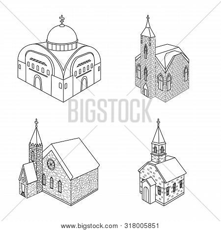 Isolated Object Of Architecture And Building Icon. Collection Of Architecture And Clergy Vector Icon