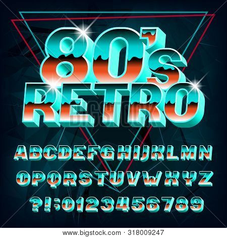 80s Retro Alphabet Font. 3d Effect Letters And Numbers On Abstract Background. Stock Vector Typeface