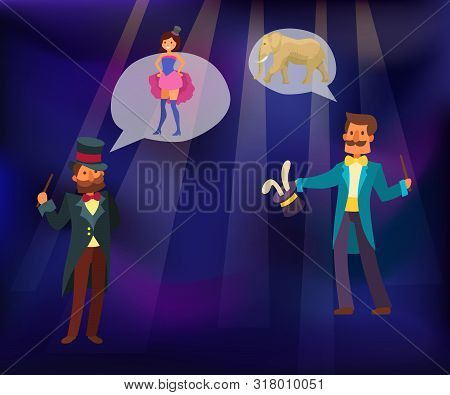 Magic Show Vector Illustration. Magician Conjured Rabbit Out Of Magical Hat. Illusionist Performing