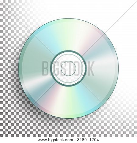 Dvd Disc . Realistic Compact Cd Disc Mock Up Isolated On Background. Music Plastic Sound Data. Video