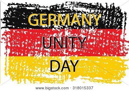 Grunge Brush Stroke With German National Flag. German National Day Background. Decorative Design Ele