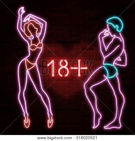 18+ Banner With Neon Silhouette Of Sexy Man And Woman Figures, Beautiful Silhouettes, Nightclub, Str