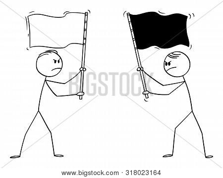 Cartoon Stick Figure Drawing Conceptual Illustration Of Two Angry Men, Politicians Or Businessmen Ho