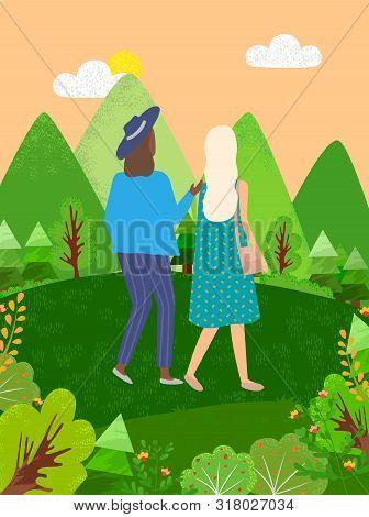 Two Women Walking In Green Park Or Forest Back View. Vector Cartoon Female People, Best Friends Spen