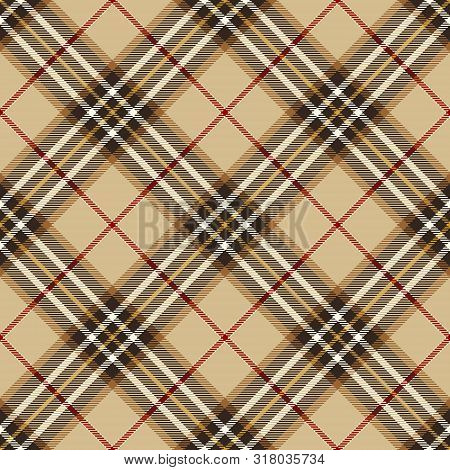 Tartan Plaid Scottish Seamless Pattern Background. Black, Red, White And  Camel Beige  Color  Wrap.