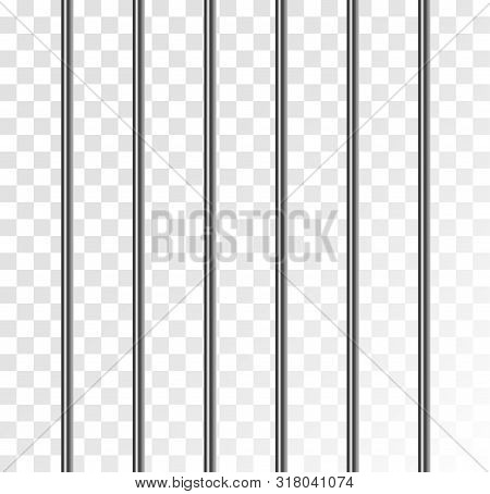 Jail Prison Metal Cage Isolated Cell Grid. Steel Bars In Jail On Transparent Background