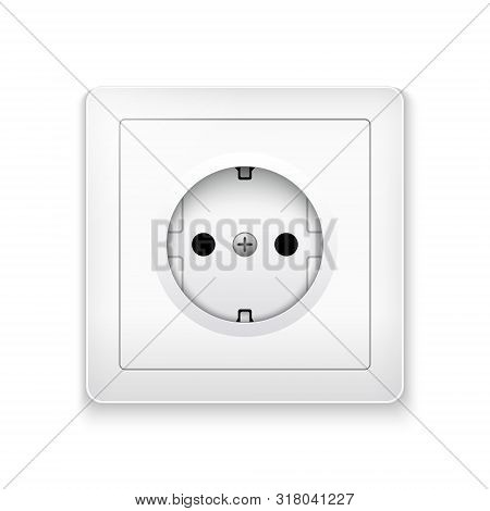Power Socket Outlet Wall Plug Icon. Electric Round Eu Power Socket Illustration