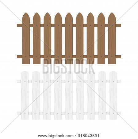 Wooden Fence Illustration. Farm Wood Wall Yard, Cartoon Garden. Timber Gate Background Pattern