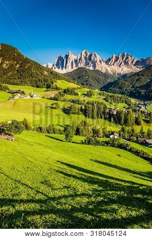 Val Di Funes And Geisler (odle) Dolomites Mountain Peaks During Sunset - Val Di Funes, South Tyrol,