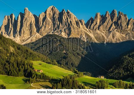 Geisler (odle) Dolomites Mountain Peaks During Sunset - Val Di Funes, South Tyrol, Italy