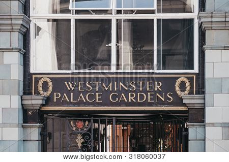 London, Uk - July 29, 2019: Name Sign Outside Westminster Palace Gardens, A Victorian Red Brick Grad