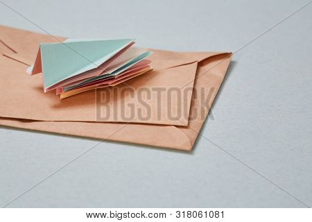 Email Or Sms Marketing And Sending E-mail, Connection Message Concept: A Stack Of Paper Airplanes An