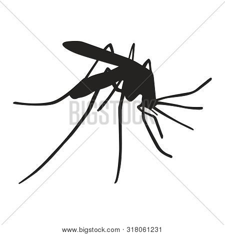 Mosquito close up graphic icon. Mosquito black silhouette isolated on white background. Vector illustration