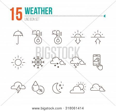 Weather line icon set. Thermometer, environment, summer. Precipitation concept. Can be used for topics like temperature, forecast, meteorology poster
