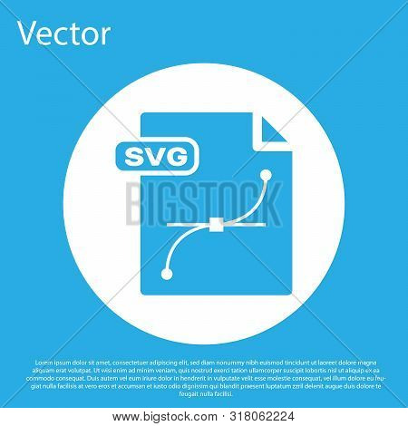 Blue Svg File Document. Download Svg Button Icon Isolated On Blue Background. Svg File Symbol. White