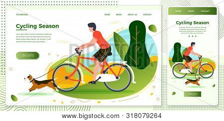 Vector Cross Platform Illustration Set - Man Riding On Bike With Dog. Park, Trees And Hills On Green