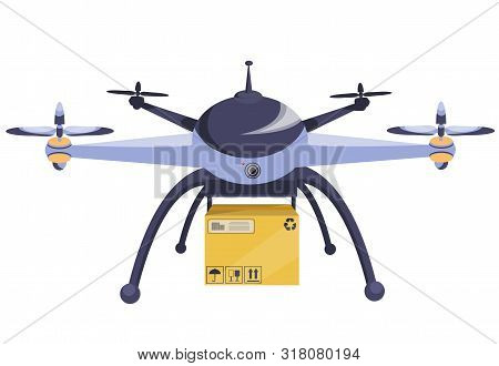 Drone. Modern Technology. Copter With Goods Flying In The Air. Parcel Technique Box Quadcopter-couri