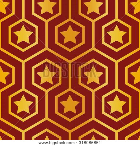 Elegant Meandering Hexagon And Stars Design In Red With Gold Foil Effect. Seamless Vector Pattern. P