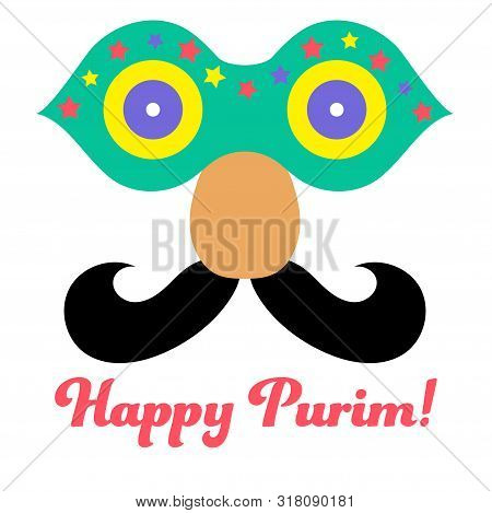 Purim In Vintage Style On White Background. Cartoon Greeting Card With Purim. Greeting Colorful Card